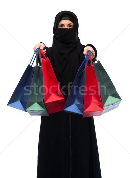 мусульманских женщину хиджабе продажи Сток-фото © dolgachov