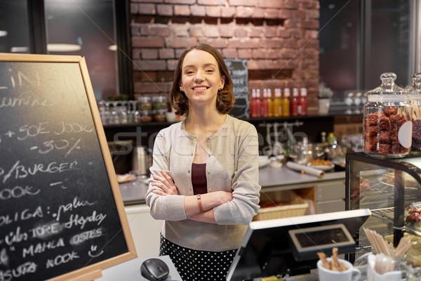 Gelukkig vrouw cafe counter kleine bedrijven mensen Stockfoto © dolgachov