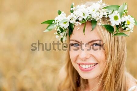 Boldog nő koszorú virágok természet nyár Stock fotó © dolgachov