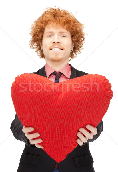 Knappe man Rood kussen foto man gelukkig Stockfoto © dolgachov