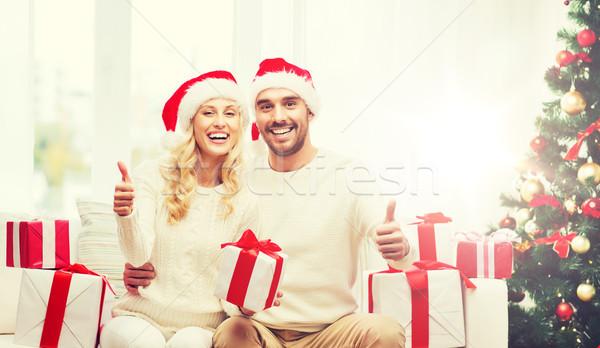 Stock fotó: Boldog · pár · karácsony · ajándékok · remek · ünnepek