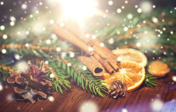 クリスマス 支店 シナモン オレンジ ストックフォト © dolgachov