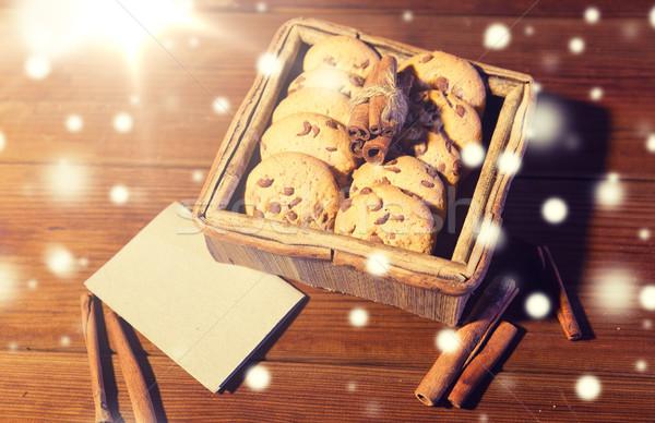 燕麦 クッキー カード 木製のテーブル クリスマス ストックフォト © dolgachov