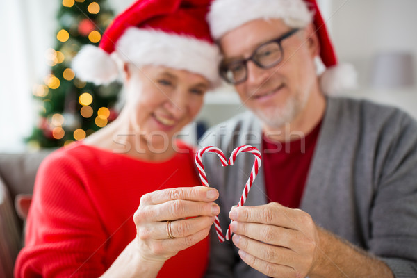 Stock fotó: Idős · pár · szív · karácsony · cukorka · ünnepek · emberek
