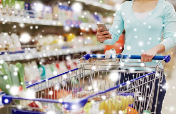 Foto stock: Mulher · compra · comida · supermercado
