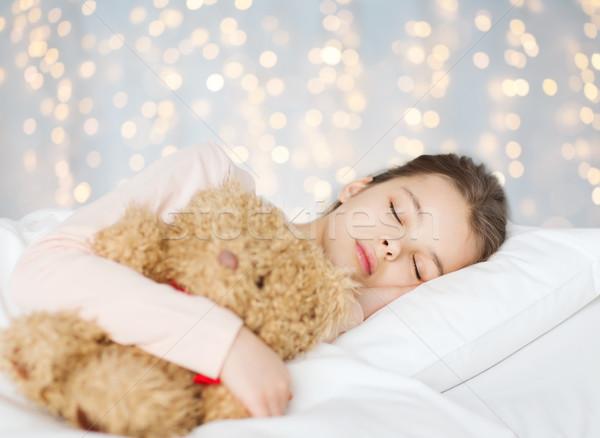 девушки спальный мишка игрушку кровать люди Сток-фото © dolgachov