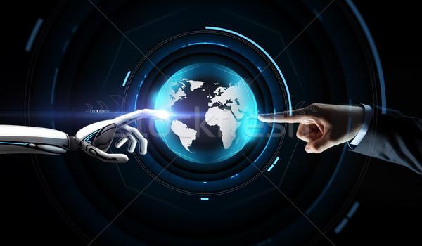 Stock fotó: Emberi · robot · kéz · virtuális · Föld · hologram