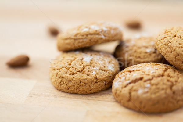 close up of oatmeal cookies on wooden table Stock photo © dolgachov