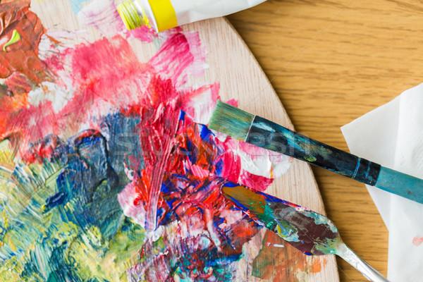 Palette couteau peinture spatule pinceau Photo stock © dolgachov