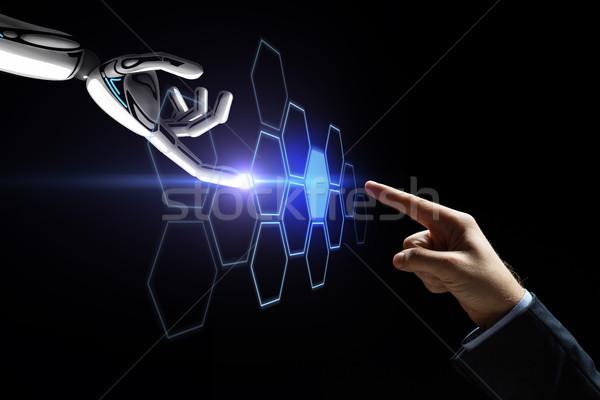 Robot emberi kéz megérint hálózat hologram jövő Stock fotó © dolgachov