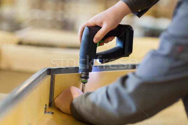 Schroevendraaier meubels productie industrie werken Stockfoto © dolgachov
