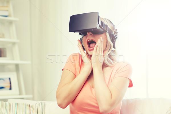 Kadın sanal gerçeklik kulaklık 3d gözlük teknoloji Stok fotoğraf © dolgachov