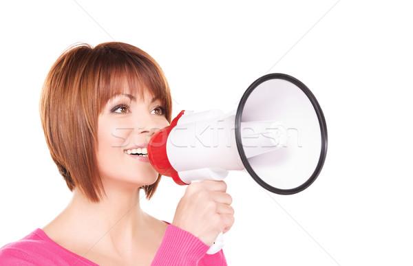 Vrouw megafoon foto witte gelukkig nieuws Stockfoto © dolgachov