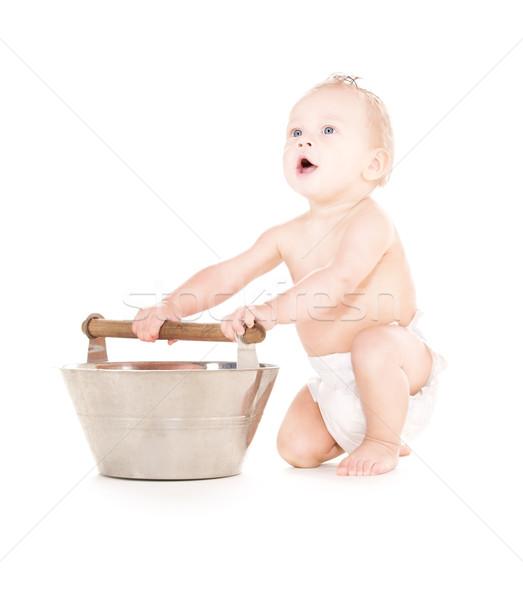 baby boy with wash-tub Stock photo © dolgachov