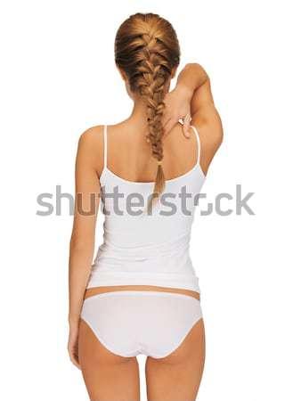 Gyönyörű nő pamut hátsó nézet nő egészség szépség Stock fotó © dolgachov