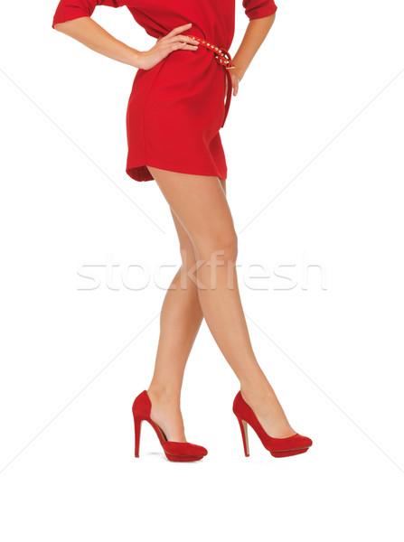 Resim kadın kırmızı elbise yüksek topuklu bacaklar Stok fotoğraf © dolgachov