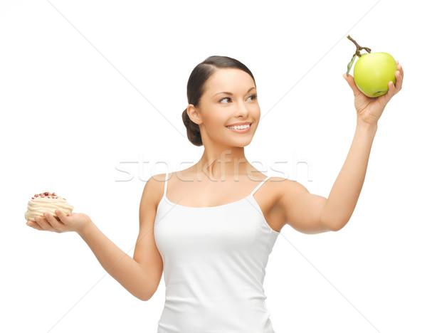 Sportos nő alma torta kép boldog Stock fotó © dolgachov