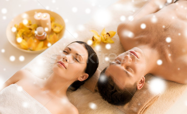 Pareja spa salón masaje salud belleza Foto stock © dolgachov