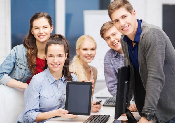 Stockfoto: Studenten · monitor · scherm · onderwijs · advertentie