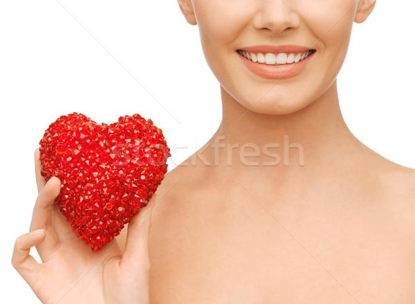 Kadın kırmızı kalp sağlık güzellik hayır Stok fotoğraf © dolgachov