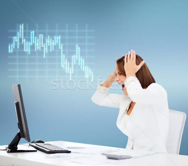 stressed woman with computer Stock photo © dolgachov