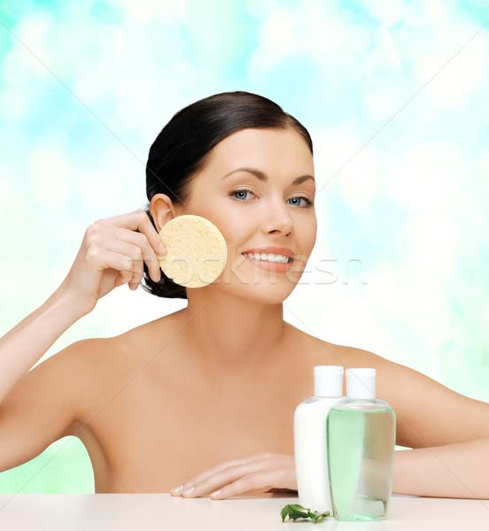 woman with sponge Stock photo © dolgachov
