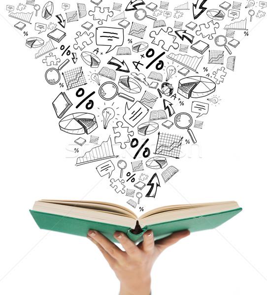 Kobieta strony otwarta księga edukacji Zdjęcia stock © dolgachov