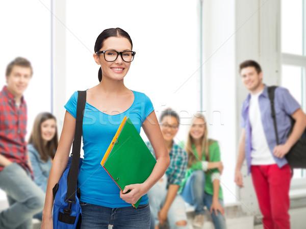 Sorridere studente bag cartelle istruzione persone Foto d'archivio © dolgachov