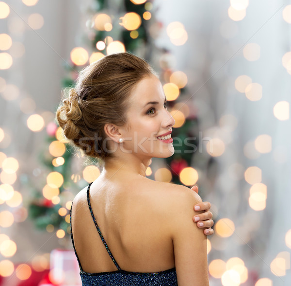 улыбающаяся женщина вечернее платье люди праздников Сток-фото © dolgachov