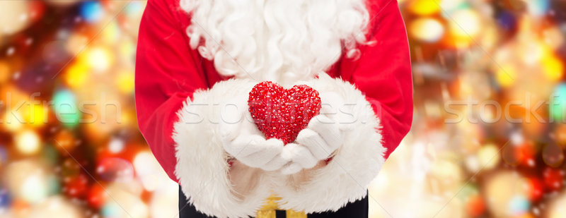 close up of santa claus with heart shape Stock photo © dolgachov