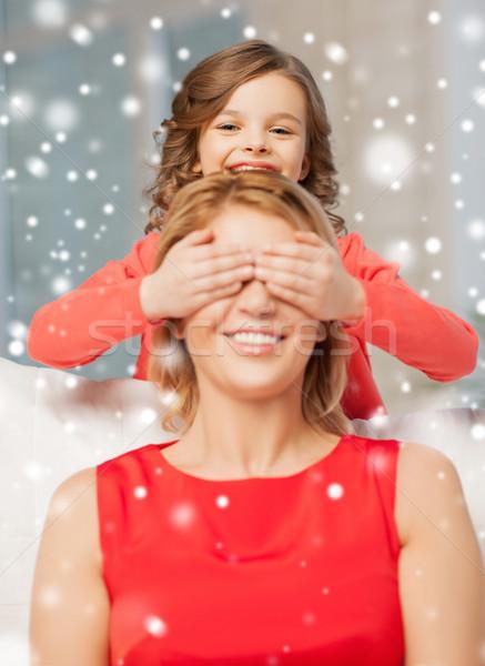 Glücklich Mutter Tochter home Menschen Stock foto © dolgachov