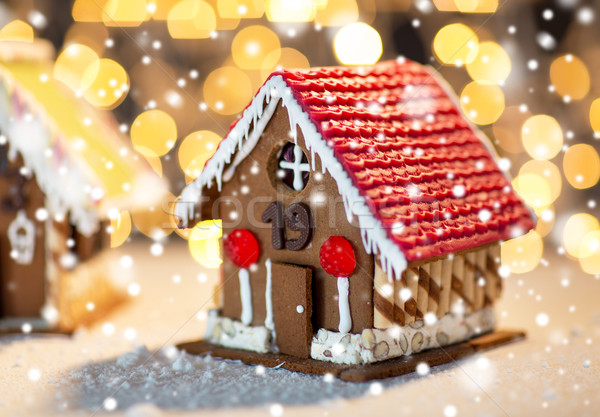 closeup of beautiful gingerbread houses at home Stock photo © dolgachov