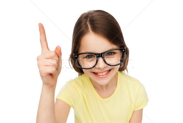 Uśmiechnięty dziewczynka okulary edukacji szkoły wizji Zdjęcia stock © dolgachov