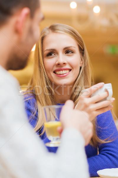счастливым пару знакомства питьевой чай кафе Сток-фото © dolgachov