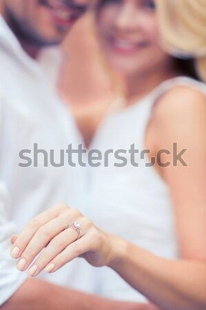 close up of happy married lesbian couple hugging Stock photo © dolgachov