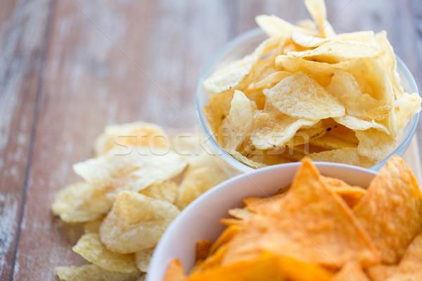 Batata milho nachos tabela fast-food Foto stock © dolgachov