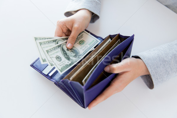 close up of woman hands with wallet and money Stock photo © dolgachov