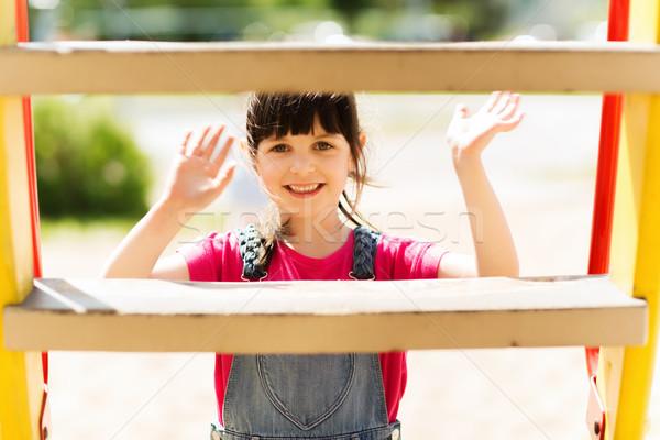 Сток-фото: счастливым · девочку · скалолазания · детей · площадка · лет