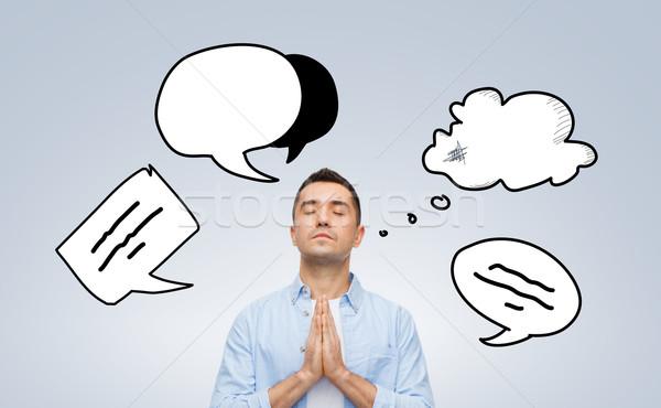 Férfi imádkozik Isten szöveg buborék firkák Stock fotó © dolgachov