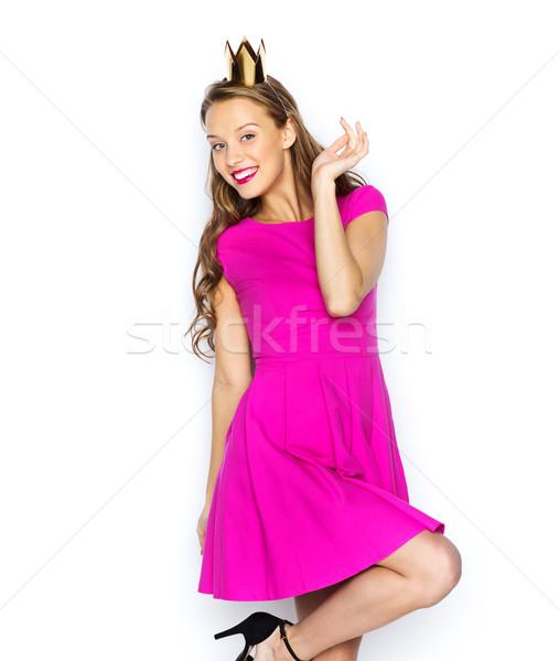 Feliz mulher jovem menina adolescente princesa coroa pessoas Foto stock © dolgachov