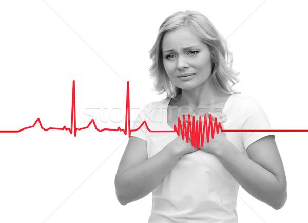 Ongelukkig vrouw lijden hartzeer mensen gezondheidszorg Stockfoto © dolgachov