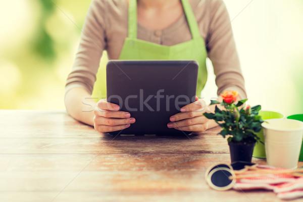 Közelkép nő kertész tart táblagép emberek Stock fotó © dolgachov