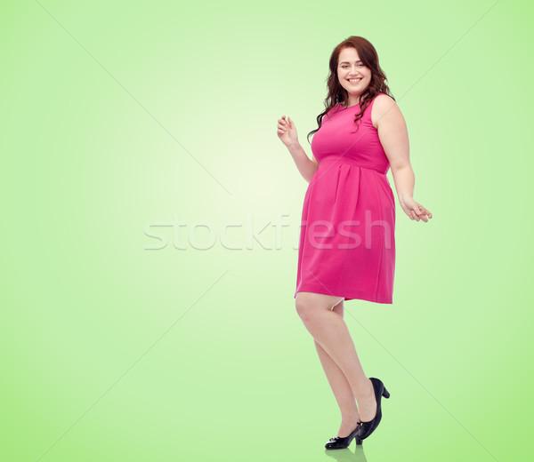 幸せ 小さな プラスサイズ 女性 ダンス ピンク ストックフォト © dolgachov