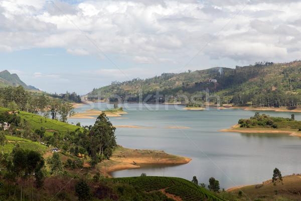 view to lake or river from land hills on Sri Lanka Stock photo © dolgachov