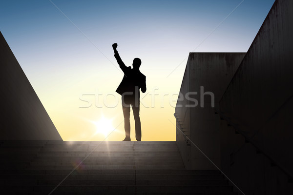 silhouette of business man with over sun light Stock photo © dolgachov