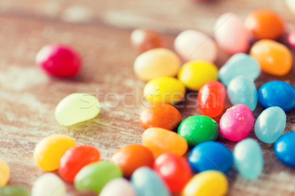 close up of multicolored jelly beans candies Stock photo © dolgachov