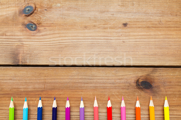 Giz de cera cor lápis madeira arte Foto stock © dolgachov