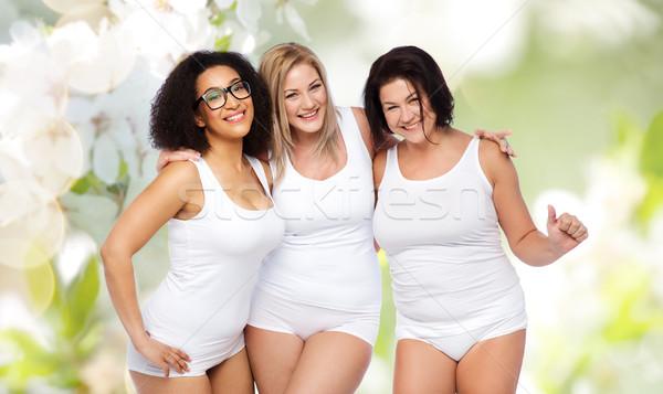 Groep gelukkig plus size vrouwen witte ondergoed Stockfoto © dolgachov