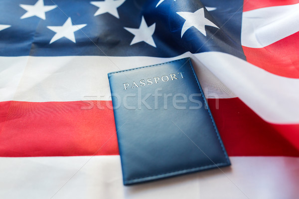 Amerikan bayrağı pasaport vatandaşlık milliyetçilik mavi Stok fotoğraf © dolgachov