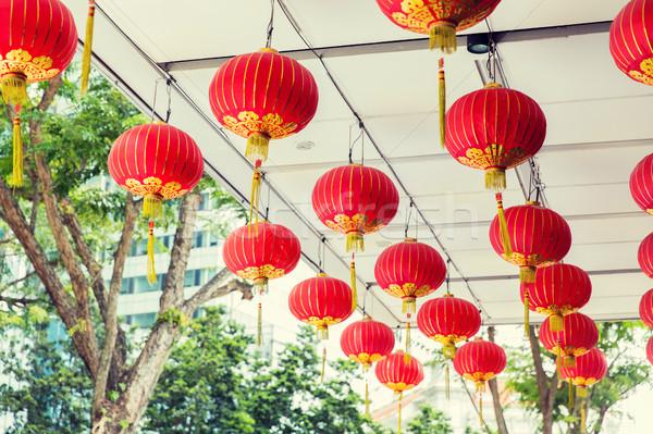 Teto decorado enforcamento chinês lanternas Ásia Foto stock © dolgachov